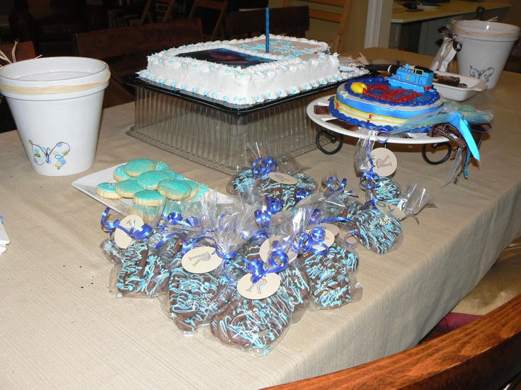 Home made party favor a chocolate covered pritzels.