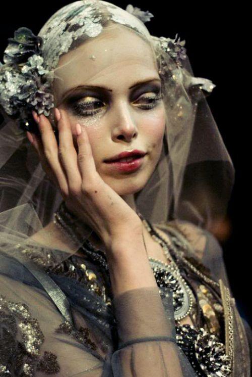 'Tanya Dziahileva at John Galliano f/w 2009 backstage' #fashion #makeup #veil