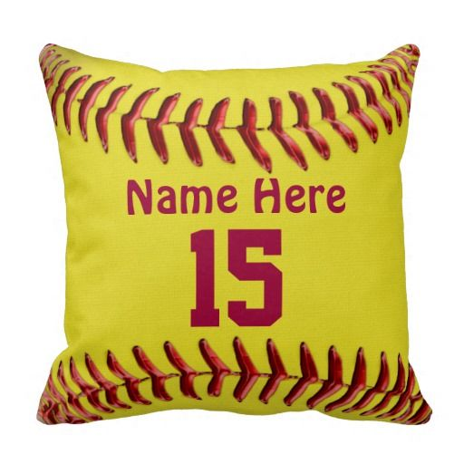Softball Pillows for Girls Softball Room Themes. Type her NAME and JERSEY NUMBER into the text boxes. Our pillows have become a popular and cherished sports team gift ideas for girls. These softball team gifts for girls memory will be shown to her children some day. See more Softball Room Decorating Ideas: http://www.zazzle.com/littlelindapinda/gifts?cg=196194074123766050&rf=238147997806552929  and other Softball Stuff for Girls, Teams, Coaches and Parents. ALL of Little Linda Pinda Designs…
