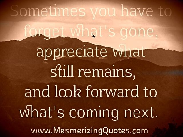 Sometimes you have to forget what's gone. appreciate what still remains, and look forward to what's coming next.