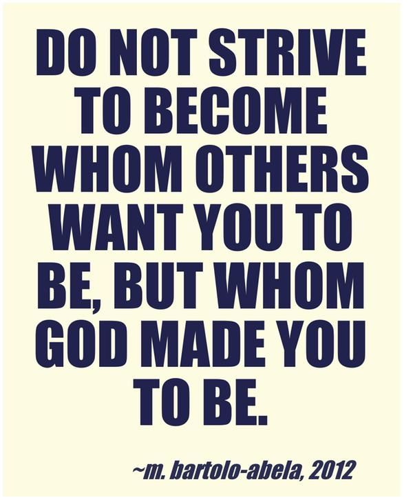 so true. need to stop trying to be what I think others expect, God is all that matters!