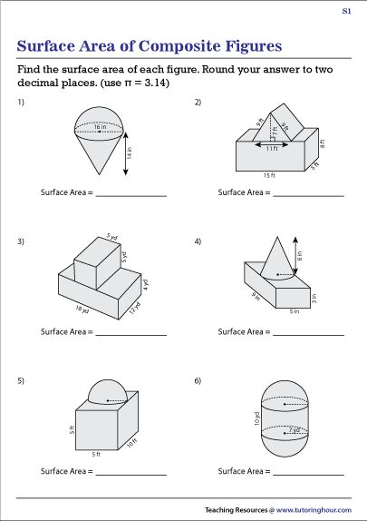 Surface Area of Composite Figures Worksheets in 2020