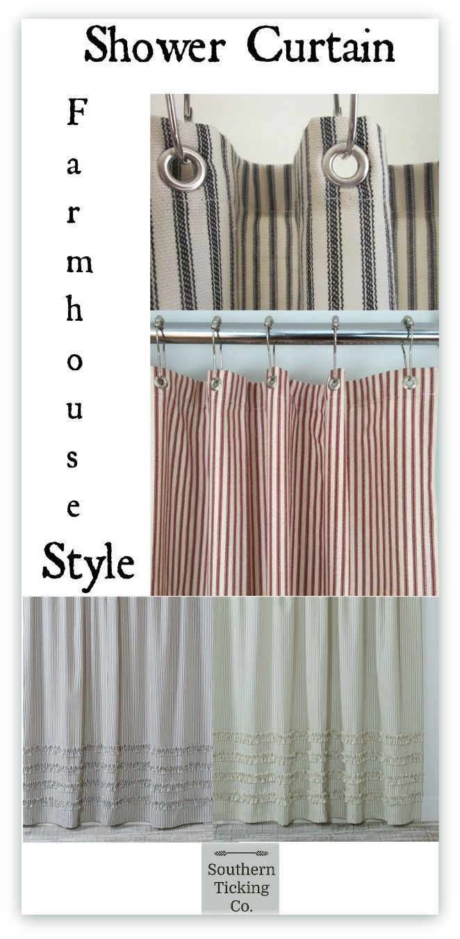 Ticking Stripe Ruffle Shower Curtain The Perfect Cottage Or Farm House Bathroom Update Our Fabric Curtains Are Made In USA A Southern
