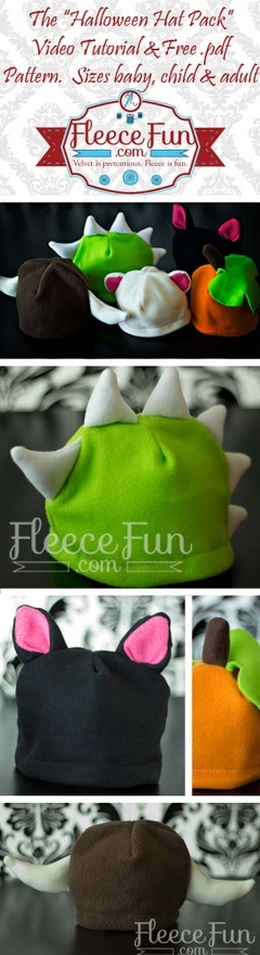 Halloween Hat Pack, fleece hats with horns, ears, and dragon plates perfect for kids. Free Pattern and video tutorial.