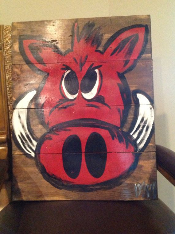 Razorback on Wood - that is awesome!! :D huge razorbacks fan! Arkansas all the way!!
