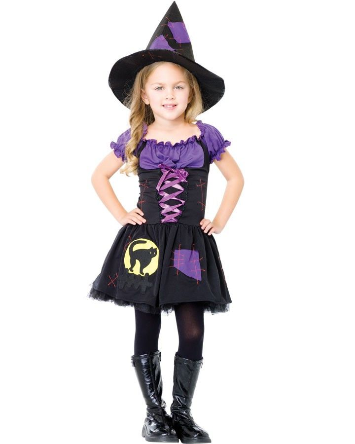 this costume would be fun for halloween and is certainly not too scary this black cat witch girls costume consists of a black peasant style dress wi - Scary Cat Halloween Costume