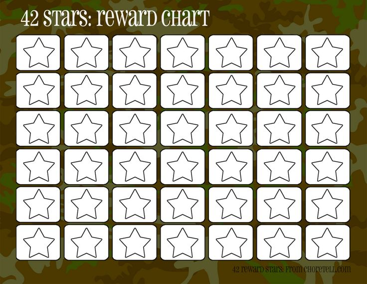 Camo rewards charts (42 stars) | Free printable downloads from ChoreTell