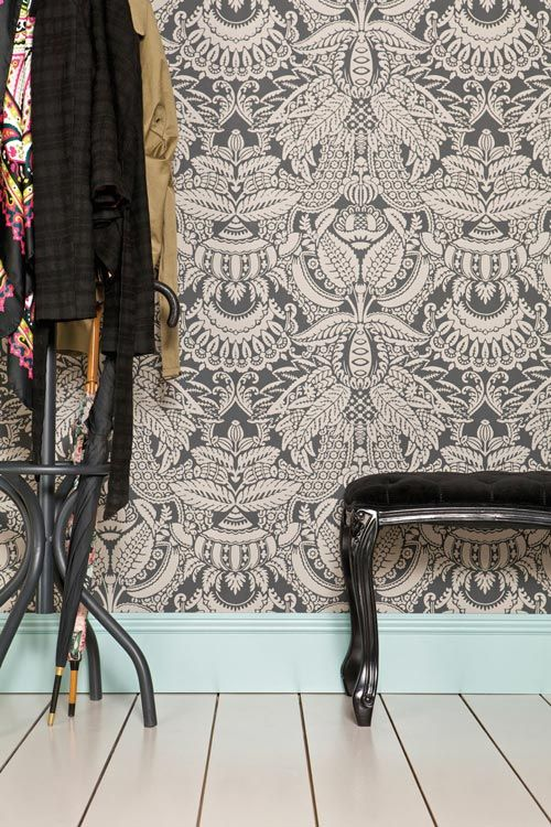 Orangerie is from The Baroque Papers collection and is bursting with extravagant detail encapsulating exotic leaf patterns interspersed with flowers and fruit such as the central pineapple motif. (us.farrow-ball.com)