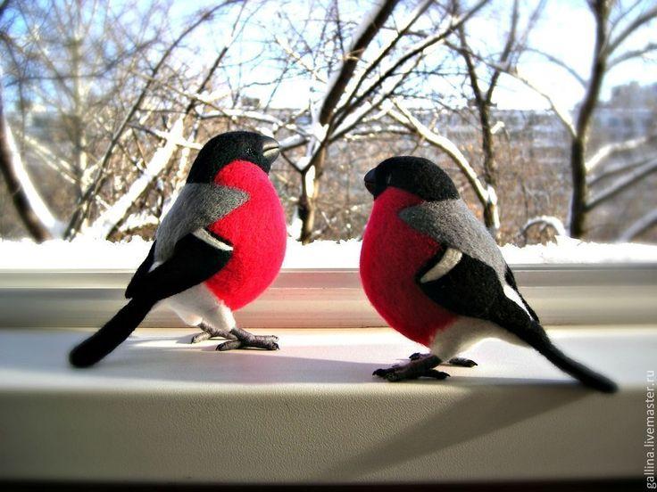 Купить Снегирь - птица, дарящая позитив - снегирь, Валяные игрушки, птица, игрушка, авторская игрушка