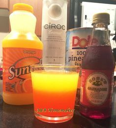 The Coconut Sunrise is one of my favorite drinks!It's super easy, has a great fruity flavor, and it's the perfect strength. And of course the Coconut Sunrise is absolutely beautiful to look at but even better to drink!Below is the simple recipe for this great drink for one or for a girls nigh in! #Vodka #Pineapple #Ciroc