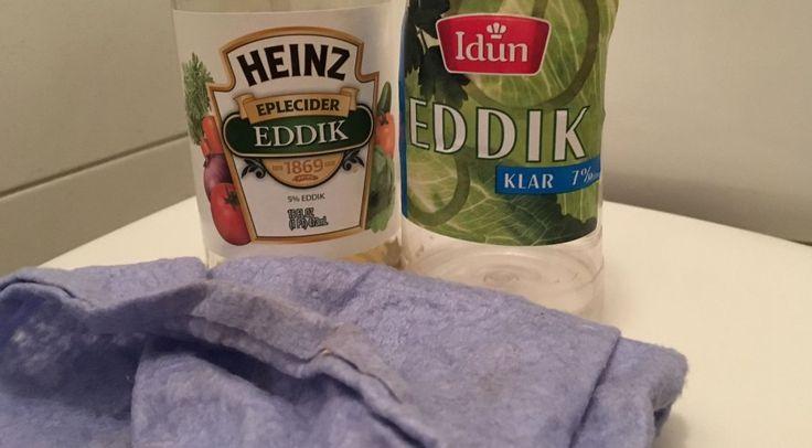 EDDIK SOM VASKEMIDDEL: Det lukter ikke blomster, men eddik er et effektivt alternativ til rengjøring av badet.