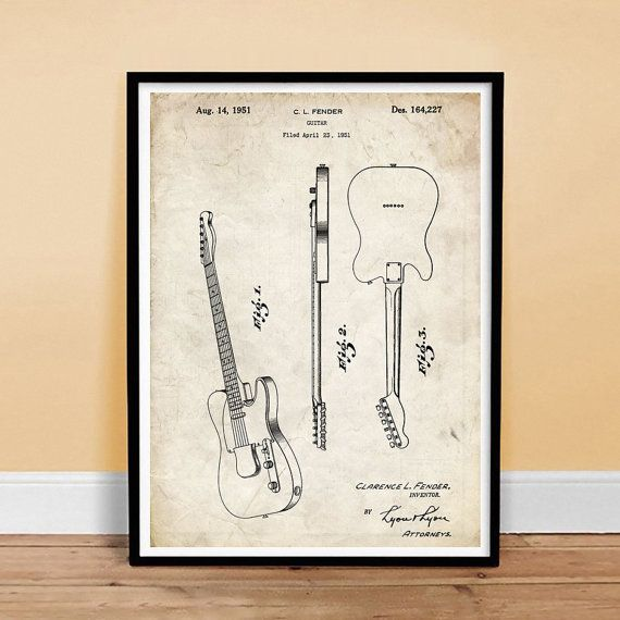 Buy Fender Telecaster Guitar 1951 US Patent Print Poster Vintage Tele Gift - various sizes and colors by stevesposterstore. Explore more products on http://stevesposterstore.etsy.com