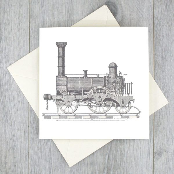 Train Party Time. A vintage train locomotive engine on a set of notecards. Great gifts for Dad. #railroad #vintagetrain #dadcards #fathersday