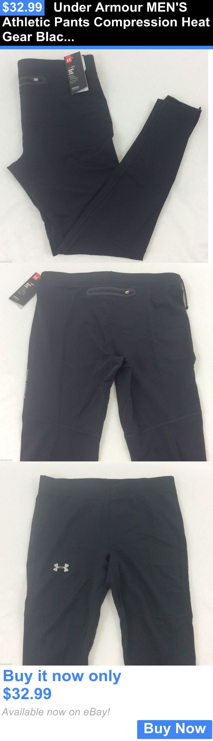 Men Athletics: Under Armour Mens Athletic Pants Compression Heat Gear Black Size L BUY IT NOW ONLY: $32.99