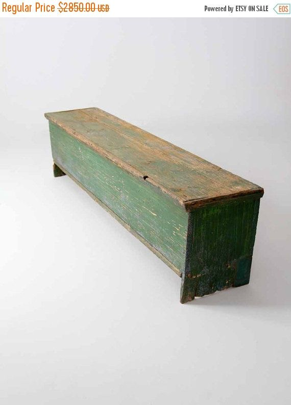 SALE antique primitive storage bench by 86home on Etsy