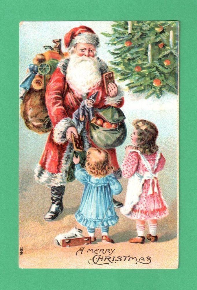 1908 CHRISTMAS SANTA CLAUS CHILDREN POSTCARD SACK SADDLEBAG TOYS TREATS TREE