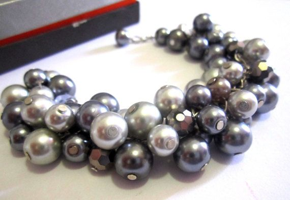 Gray Pearl Bracelet Bridesmaid by SLDesignsHBJ #integritytt #wedding #jewelryonetsy A chunky, pearl bracelet made with a cluster of glass pearls in different shades of grey, together with silver, faceted crystal beads for some sparkle.
