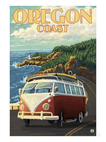 Oregon Coast, Cruising the Coast, VW Bug Van Art by Lantern Press at AllPosters.com