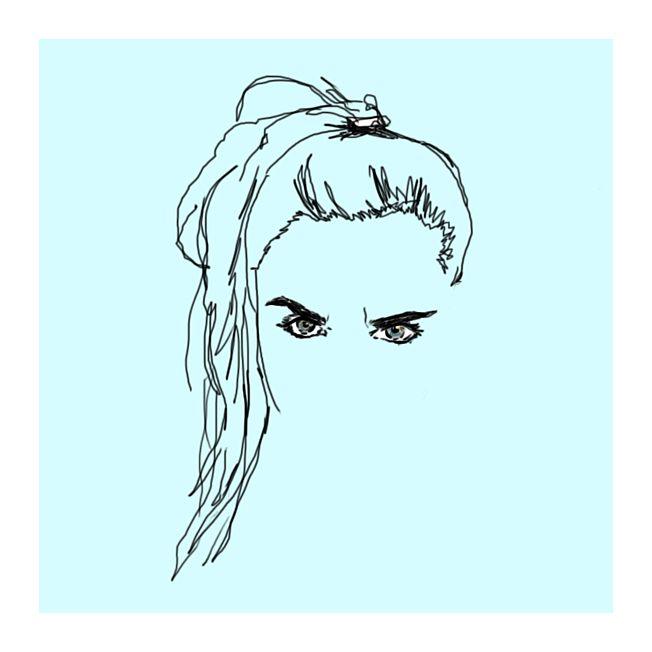 Illustration au trait - eyes eyebrows hair