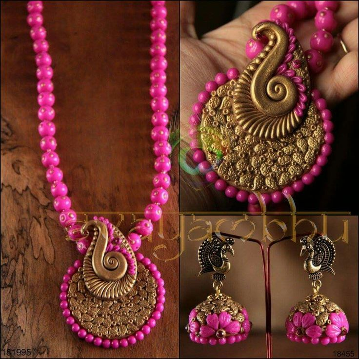 Handmade clay necklace earrings jhumkas