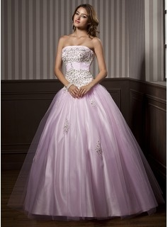 A-Line/Princess Strapless Floor-Length Satin  Tulle Quinceanera Dresses With Ruffle  Beading (021004579)