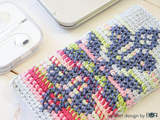 crochet phone case pattern inspired by autumn, leaves, blue sky, tunisian crochet, cross stitch, cotton yarn, diy