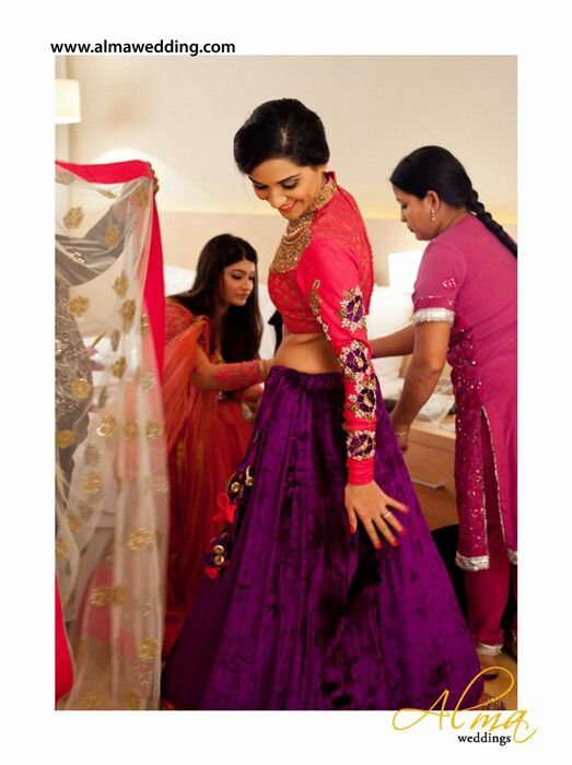 ..purple velvet lehnga with full sleeves brocade blouse (embroidered)