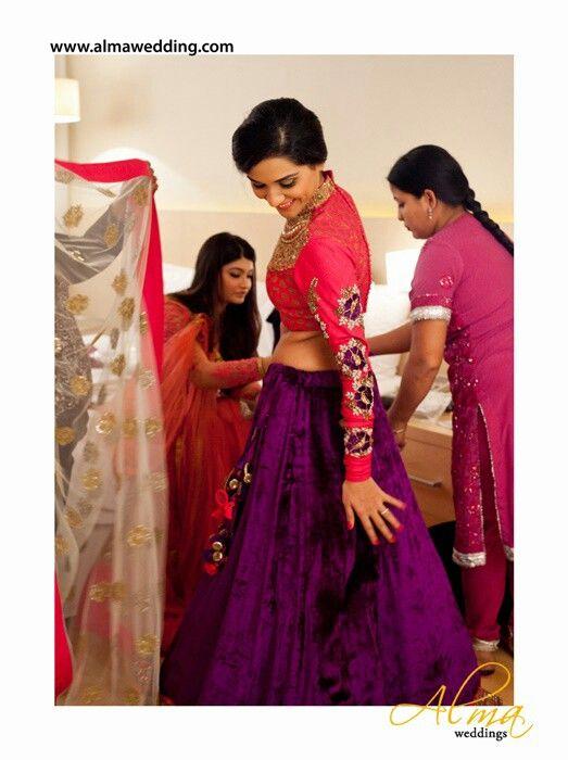 ..purple velvet lehnga with full sleeves brocade blouse (embroidered)
