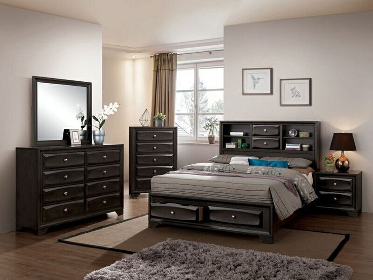 """5 pc Carlynn collection antique gray finish wood w/ drawers in footboard queen bedroom set.  This set includes the Bed, Nightstand, Dresser, Mirror, and Chest.  Bed measures 91 1/8"""" x 63"""" x 53 5/8"""" H.  Nightstand measures 23 5/8"""" x 16 1/2"""" x 23 5/8"""" H.  Dresser measures 58 1/4"""" x 16 1/2"""" x 39 3/4"""" H.  Mirror measures 39 3/8"""" x 1"""" x 34 3/4"""" H.  Chest measures 31 1/2"""" x 1..."""