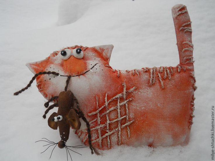 Купить Для тебя))) - кот, мышь, ручная работа, подарок, улыбка, юмор, бязь