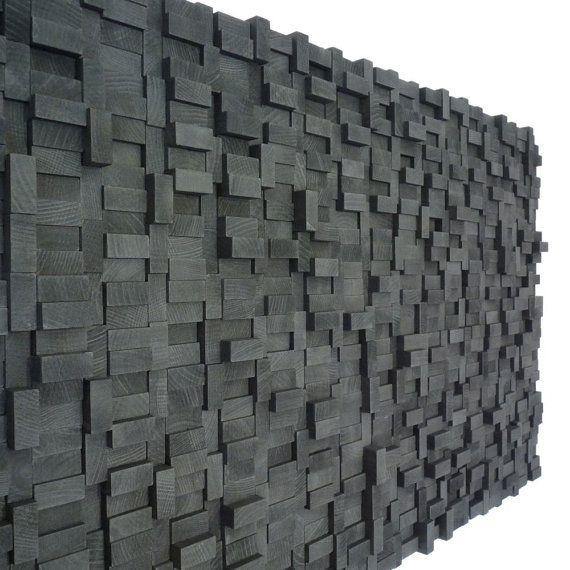 Wall Sculpture Black Midnight Wood Blocks by TateLowe on Etsy, $360.00