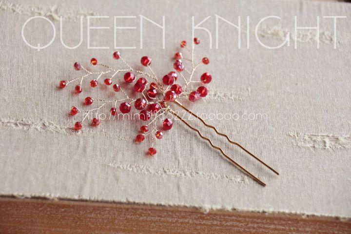 Handmade на заказ свадебный головной убор красный Cheongsam Боб Европа и Америка красивые хрустальные палочки - Taobao