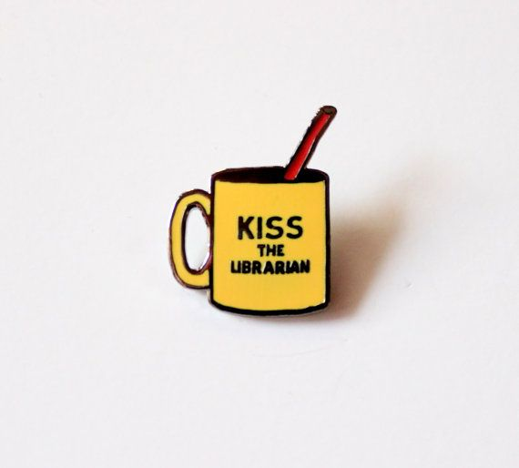 "Kiss the Librarian Mug Blood Spike // Buffy the Vampire Slayer inspired // 1.25"" hard enamel lapel pin"