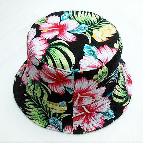 2016 Fashion Floral Fishing Hat For Women More Color Design Print Floral White Bucket Hat Women Hip Hop Sun hats For Women Caps