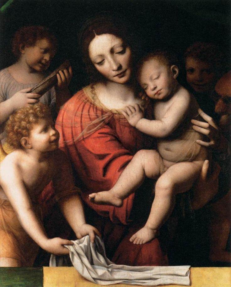 The Athenaeum - The Virgin Holding the Sleeping Child with Saint John and Angels (Bernardino Luini - )