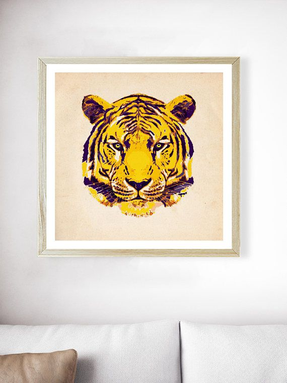 Gold LSU Tiger Art | LSU Tigers Print | Louisiana Art | Mens Decor | Tigers Football | Graduation Gift | Purple and Gold | LSU Wall Decor  ---All Artwork is Printed on High Quality, 56 lb Premium Pro Matte Paper using Premium Quality Ink ---FREE Standard Shipping Anywhere in the