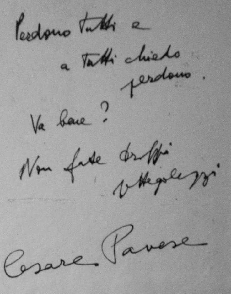 La nota di suicidio de Cesare Pavese
