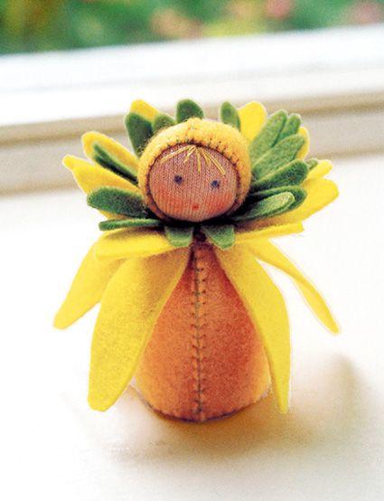 Sunflower fairy: Dolls Kits, Hands Sewing, Flowers Fairies, Felt Dolls Patterns, Flowers Children, Purl Soho, Christmas Sewing, Crafts Supplies, Felt Flowers
