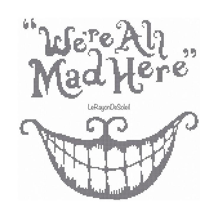 Un favorito personal de mi tienda Etsy https://www.etsy.com/listing/248647493/cross-stitch-pattern-we-are-all-mad-here
