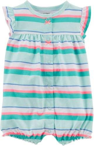 6253a7d3ebb Carter s Baby Girls Stripe Crab Snap-Up Romper