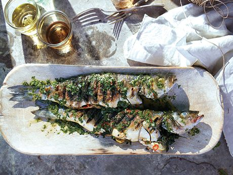 Grilled Branzino with Cilantro-Mint Relish Recipe  at Epicurious.com