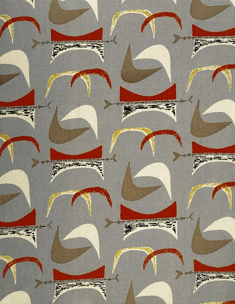 Fabric designed by Marian Mahler, 1952, for   David Whitehead Ltd. via V&A