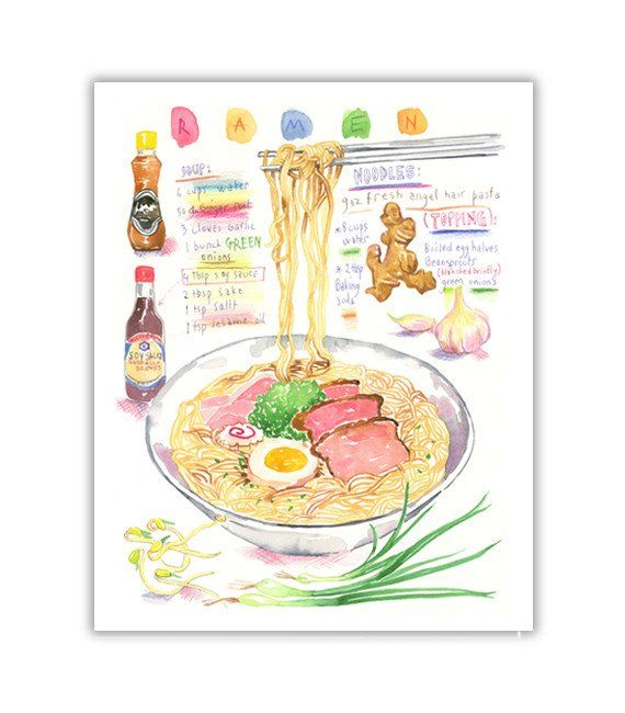 "Ramen. Illustrated recipe Archival giclee print of my original watercolor painting. Signed with pencil. Printed on fine art "" BFK Rives "" hot-pressed paper, smooth surface, 140 lb, 100% cotton (acid f"