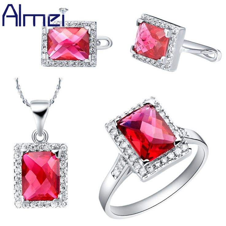 Find More Jewelry Sets Information about Almei Ruby Jewelry Sets Women 925 Silver CZ Zircon Fashion Red Square Crystal Engagement Wedding Gifts For Bridal Wholesale T077,High Quality jewelry box wedding gift,China jewelry gift bag Suppliers, Cheap jewelry calculator from ULove Fashion Jewelry Store on Aliexpress.com