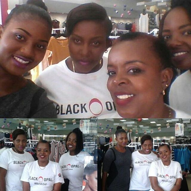 Miss Black Opal Fave Of Zimbabwe Hazvineyi Chiota with the #BOMB team at Topics Jason Moyo Harare for the Quicktorial.