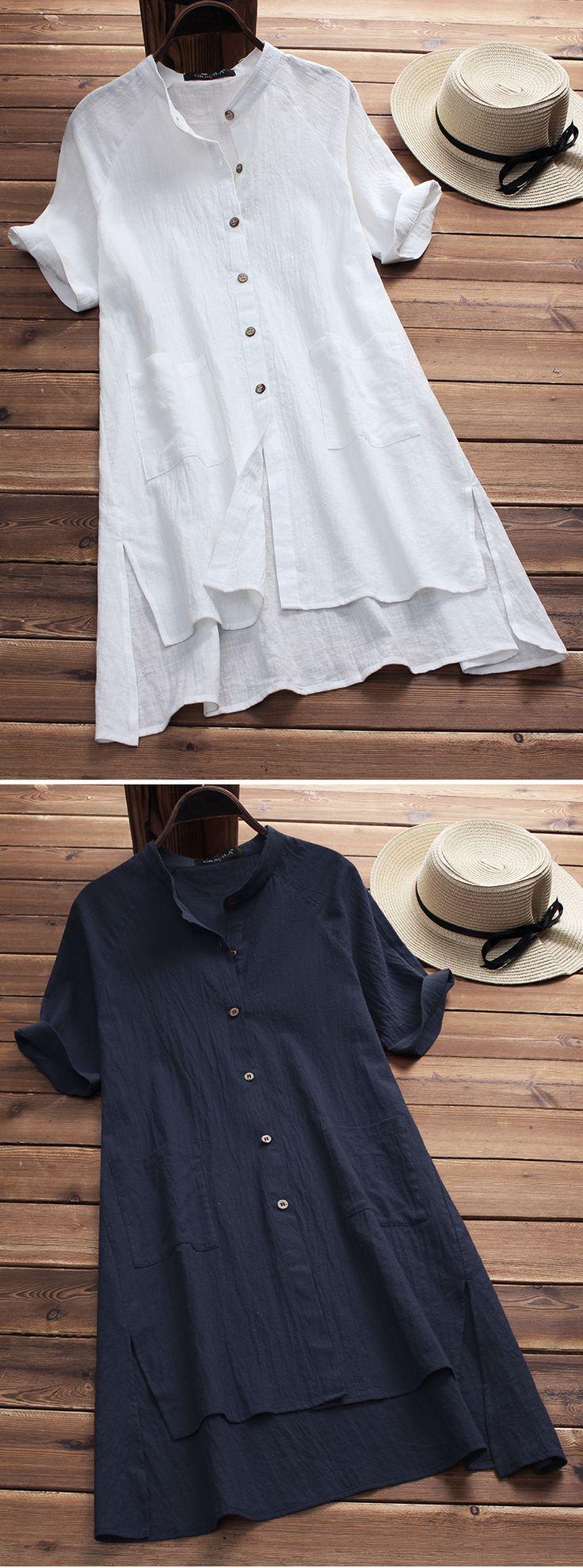 UP TO 50% OFF! Vintage Pure Color Irregular Hem Short Sleeve Women Blouses. SHOP NOW!