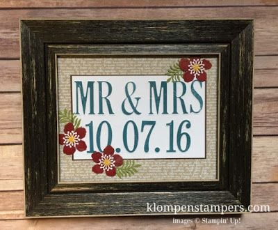 Great Bridal/Wedding gift.  Personalize information and colors!  Made with Stampin' Up! Letters For You bundle.