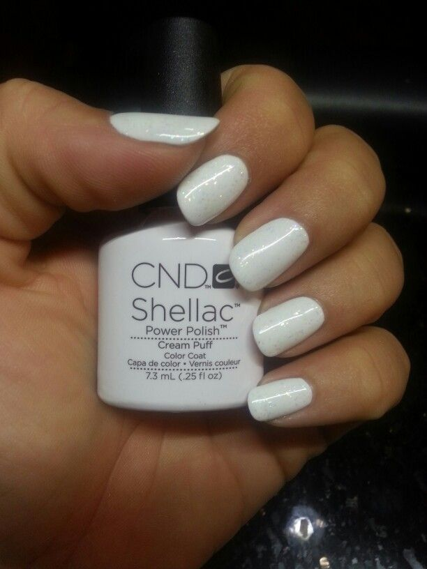 Cnd Shellac Cream Puff With Zillionaire Done By Whitney