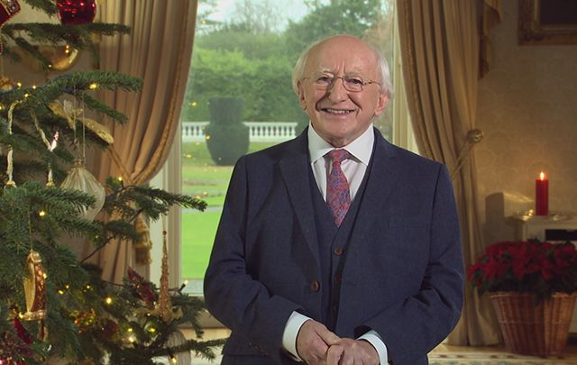 Irish President Michael D. Higgins draws parallels between the story of the birth of Christ and the current refugee crisis.