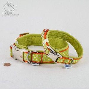 "Leder Halsband ""Dots"", grün  24,90€–29,90€"